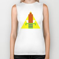 8 bit Biker Tanks featuring 8-Bit Hero by Tiny Pixel Designs