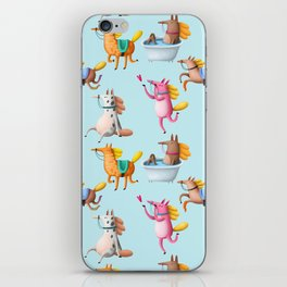 Cute and Whimsical Horse Pattern on Light Blue iPhone Skin