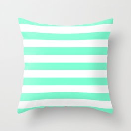 Horizontal Stripes (Aquamarine/White) Throw Pillow