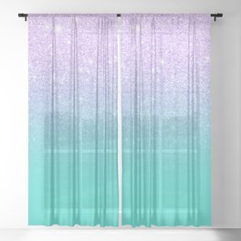 Modern mermaid lavender glitter turquoise ombre pattern Sheer Curtain