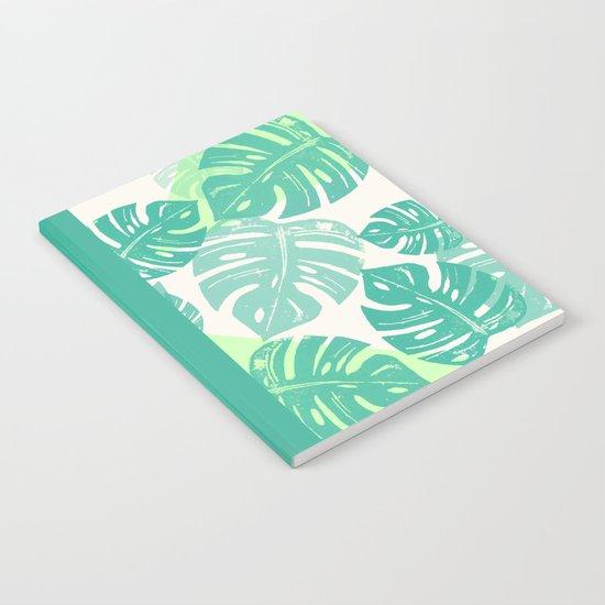 Linocut Monstera Green Notebook