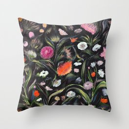Wild flowers at night Throw Pillow