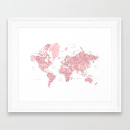 Light pink, muted pink and dusty pink watercolor world map with cities Framed Art Print