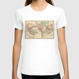 Vintage Map of The World (1860) T-shirt