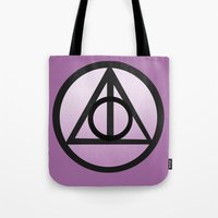 deathly hallows Tote Bags featuring Deathly Hallows by AriesNamarie