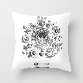 Who's Up for Tea? (Black and White) Throw Pillow