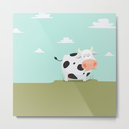 Happy fat cow Metal Print