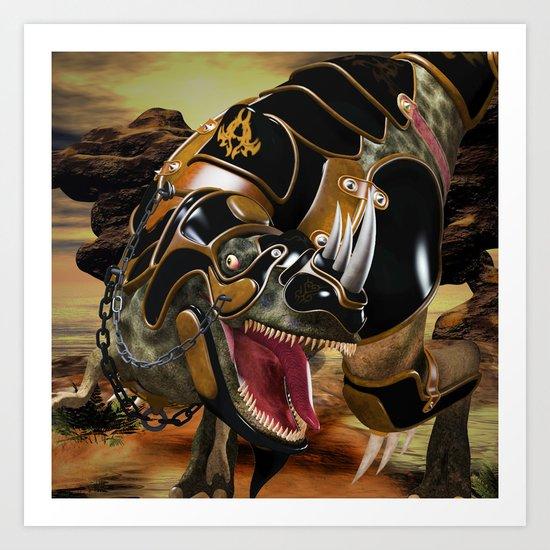 T-Rex with armor Art Print