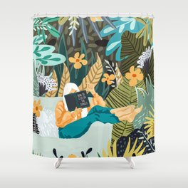How To Live In The Jungle #illustration #painting Shower Curtain