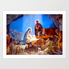 Nativity Scene Virgin Mary Child Jesus Saint Josef Holy Family Art Print
