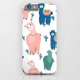 Colorful lamas and abstract trees pattern iPhone Case