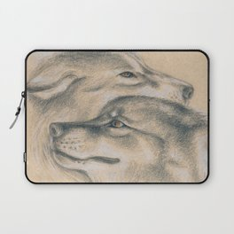 Wild Souls Snuggling Wolves Drawing Laptop Sleeve