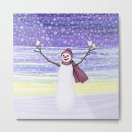 snowman with tufted titmice Metal Print