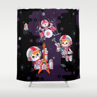 soviet Shower Curtains featuring Space Rock by chobopop