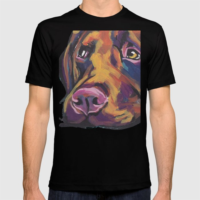 b3c3b966 Fun Chocolate Lab Dog bright colorful Pop Art Labrador T-shirt by wilddogs  | Society6