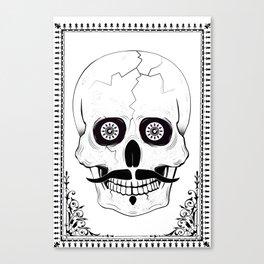 Skully Moustache 'whitey' Canvas Print