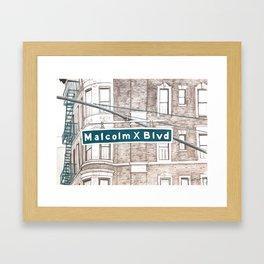 Harlem Color Study - Malcolm X Blvd - Turquoise Framed Art Print