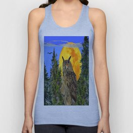 OWL WITH FULL MOON & TREES NATURE BLUE DESIGN Unisex Tank Top