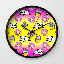 Cute funny Kawaii chibi little playful baby panda bears, happy sweet donuts and adorable yummy cupcakes rainbow sunny yellow pattern design. Nursery decor. Wall Clock