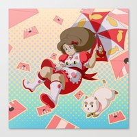 bee and puppycat Canvas Prints featuring Bee and Puppycat by Artist Meli