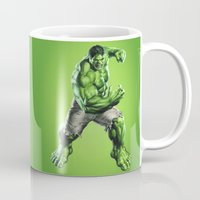 hulk Mugs featuring HULK by Hands in the Sky