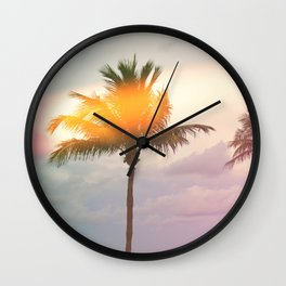 Palm Trees on the Beach Wall Clock