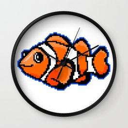 8-Bit Pixel Art Clown Fish Wall Clock