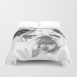 Portrait Of An American Bulldog In Black and White Duvet Cover