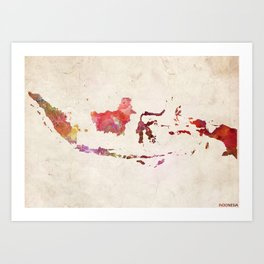 Indonesia map landscape Art Print