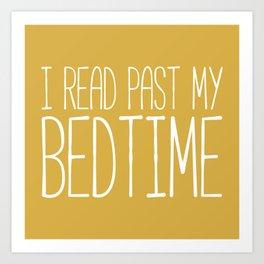 I Read Past My Bedtime (Mustard) Art Print