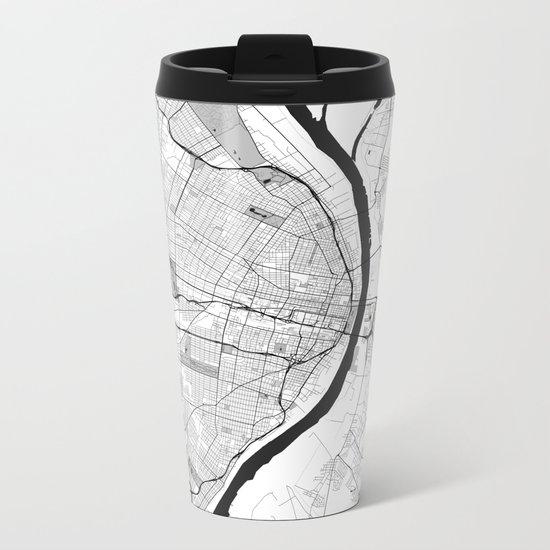 St. Louis Map Gray Metal Travel Mug