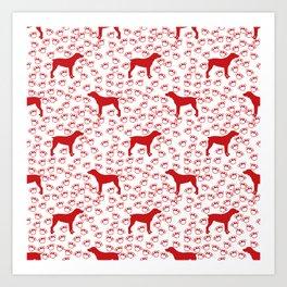 Big Red Dog and Paw Prints Art Print