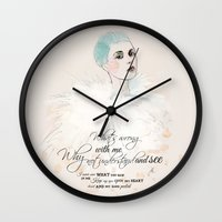 fashion illustration Wall Clocks featuring FASHION ILLUSTRATION 20 by Justyna Kucharska