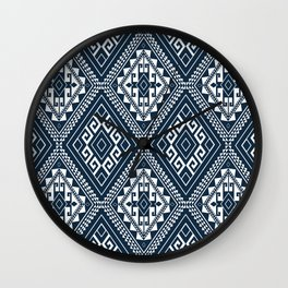Ethnic Mosaic Pattern Navy and White Wall Clock