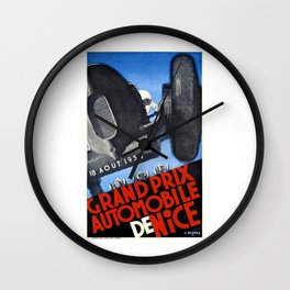 1935 Nice France Automobile Grand Prix Poster Wall Clock