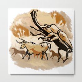 Cave Painting - Giant Bug! Metal Print
