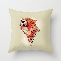 cheetah Throw Pillows featuring CHEETAH by KUI29