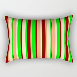 Brown, Bisque, Lime & Maroon Colored Pattern of Stripes Rectangular Pillow