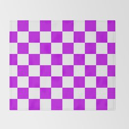 Cheerful Purple Checkerboard Pattern Throw Blanket