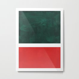 Phthalo Green Red Minimalist Abstract Colorful Minimalist Color Field Color Block Pattern Metal Print