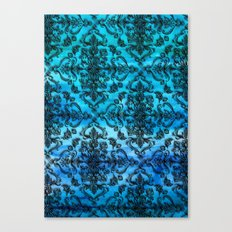 Black Filigree Pattern on Ink Blue Watercolor Canvas Print