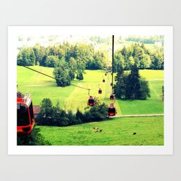 Switzerland Cable Cars Art Print