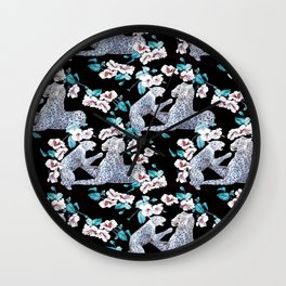 patterned with a leopard cub with its mother surrounded by the Chinese flower. Wall Clock