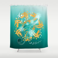 music notes Shower Curtains featuring Music Notes  by HK Chik