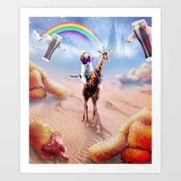 Cat Riding Giraffe With Chicken Nuggets And Cola Art Print