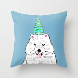 Samoyed with Party Hat Throw Pillow