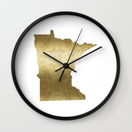 minnesota gold foil state map Wall Clock