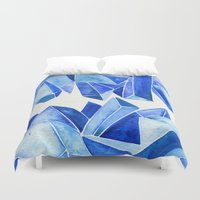 minerals Duvet Covers featuring Sapphire Watercolor Facets by Cat Coquillette