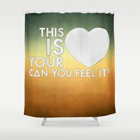 laura palmer Shower Curtains featuring Bastille - Laura Palmer #4 (This Is Your Heart, Can You Feel It?) by Thafrayer