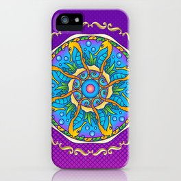 Seahorse Mandala on Purple Gradient Halftone iPhone Case